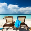 Stock Photo: Tropical beach with chaise lounge