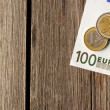 Euro money over wooden background — Stock Photo