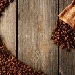Stock Photo: Coffee beans and bag background
