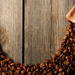 Coffee beans and bag background — Stock Photo #26409051