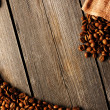 Coffee beans and bag background - Stock Photo