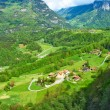 Swiss village at Alps — Stock Photo