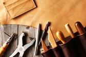 Leather crafting tools — Foto de Stock