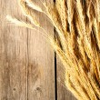 Rye spikelets on wooden background — Stock Photo