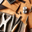Leather crafting tools — Stock Photo