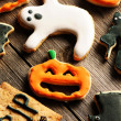 Halloween homemade gingerbread cookies — Photo
