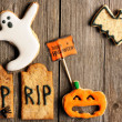 halloween homemade gingerbread cookies — Stock Photo