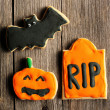 Halloween homemade gingerbread cookies — Stockfoto