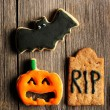 Halloween homemade gingerbread cookies — Stok fotoğraf