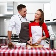 Couple at kitchen — 图库照片