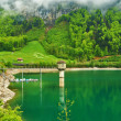 Stock Photo: Beautiful emerald mountain lake in Switzerland