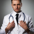 Medical doctor with stethoscope — Stock Photo