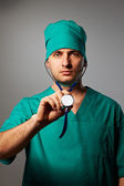 Surgeon with stethoscope — Stock Photo