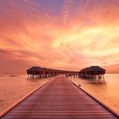 Sunset at Maldivian beach — Stock Photo