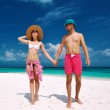 Couple in blue on a beach at Maldives — Stock Photo #42166333