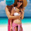 Stock Photo: Couple in blue on a beach at Maldives