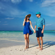 Couple in blue on a beach at Maldives — Stock Photo #42166609