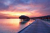 Sunset at Maldivian beach — Stock Photo
