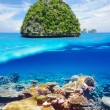 Uninhabited island with coral reef underwater view — Stock Photo