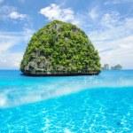Uninhabited island with white sand bottom underwater view — Stock Photo #45808381
