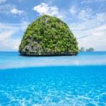Uninhabited island with white sand bottom underwater view — Stock Photo #46198931