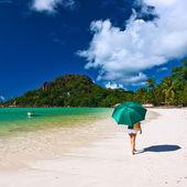 Woman with umbrella — Stockfoto