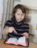 Girl with Bible — Stok fotoğraf