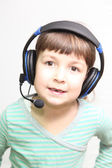 Child in headphones — 图库照片
