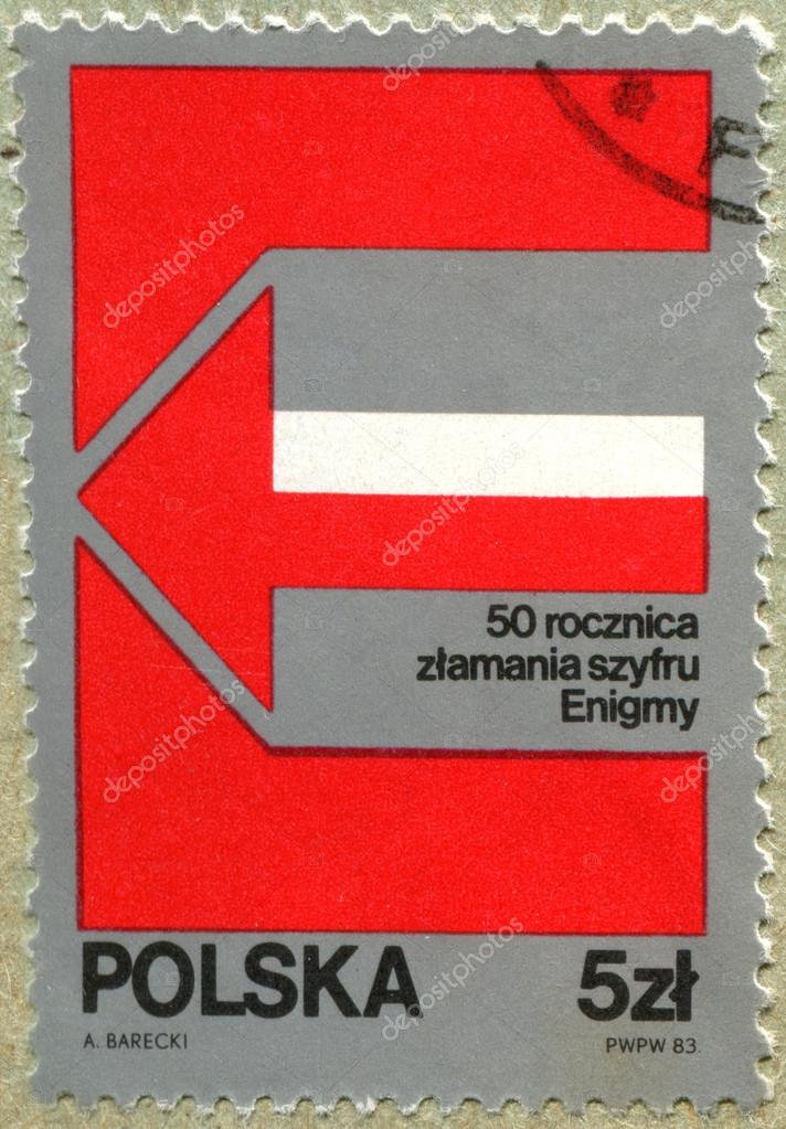 POLAND - CIRCA 1983: A Stamp printed in the POLAND shows: 50 years unraveling the enigma code , circa 1983 — Stock Photo #20332631