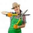 Girl with garden scissors on white — Stock Photo #12025439