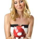 Woman with piggybank on white — Stock Photo #12542525