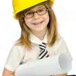 Cute girl with helmet on white — Stock Photo