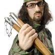 Foto de Stock  : Funny soldier with nunchaku