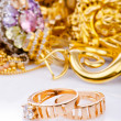 Large collection of gold jewellery - Foto Stock
