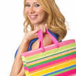 Happy girl after good shopping - Stock Photo