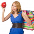 Girl spending all savings on shopping - Stock Photo