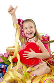 Celebration concept with girl and giftboxes — Stock Photo