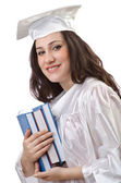 Happy graduate on white background — Stock Photo