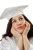 Happy student celebrating graduation on white — Stock Photo