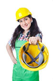 Woman worker on white — Stock Photo