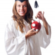 Student and piggy bank on white — Stock Photo