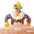 Bad construction concept with clown laying bricks — Stock Photo #12648863