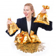 Royalty-Free Stock Photo: Woman with coins and golden sacks