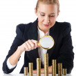 Businesswoman with coins on white — Stock Photo