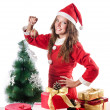 Woman santa claus on white - Stockfoto