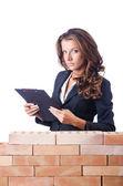 女人生成器和砖壁 — 图库照片