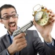 Businessman killing the time on white — Stock Photo #12650400
