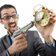 Businessman killing the time on white — Stockfoto