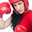 Woman boxer on white background — Stock Photo
