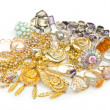 Stock Photo: Lots of jewellery on white